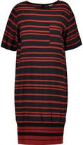 DKNY Paneled striped silk-blend dress