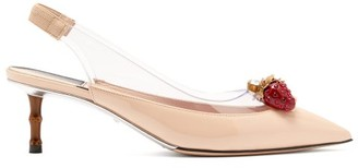 Gucci Eleonor Strawberry-charm Patent-leather Pumps - Womens - Nude