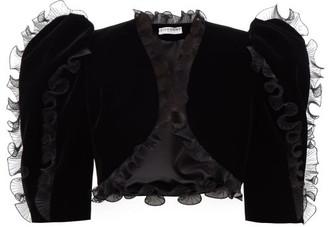 Givenchy Plisse Ruffled Velvet Bolero Jacket - Black