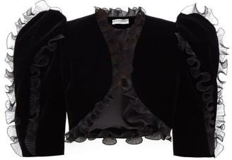 Givenchy Plisse Ruffled Velvet Bolero Jacket - Womens - Black