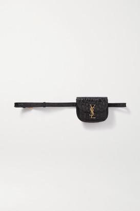 Saint Laurent Kaia Croc-effect Patent-leather Belt Bag - Black