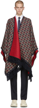 Gucci Navy and Red Wool Poncho