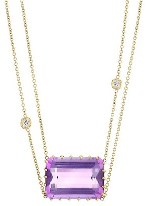 Renee Lewis 18K Yellow Gold, Diamond & Amethyst 2-Tier Chain Necklace