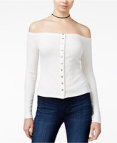 GUESS Charlene Ribbed Off-The-Shoulder Top