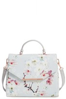 Ted Baker Large Cherry Blossom Faux Leather Satchel - Grey
