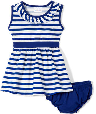 Sweet & Soft Girls' Casual Dresses Navy - Navy & White Stripe A-Line Dress & Bloomers - Infant