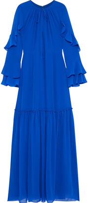 Mikael Aghal Fluted Ruffle-trimmed Chiffon Gown