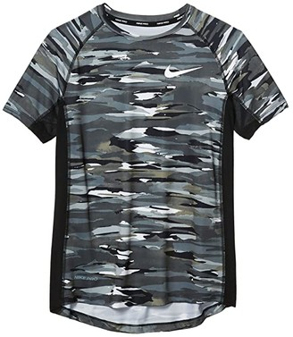 Nike Kids Pro Short Sleeve Fitted All Over Print Top (Big Kids) (Black/White) Boy's T Shirt