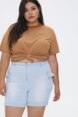 Forever 21 Plus Size Pull-Ring Denim Shorts