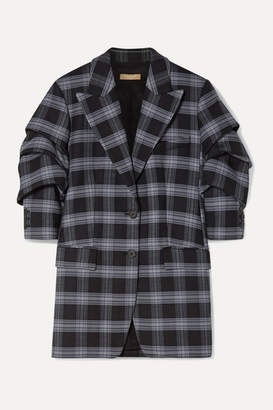 Michael Kors Checked Ruched Wool-blend Twill Blazer - Dark gray