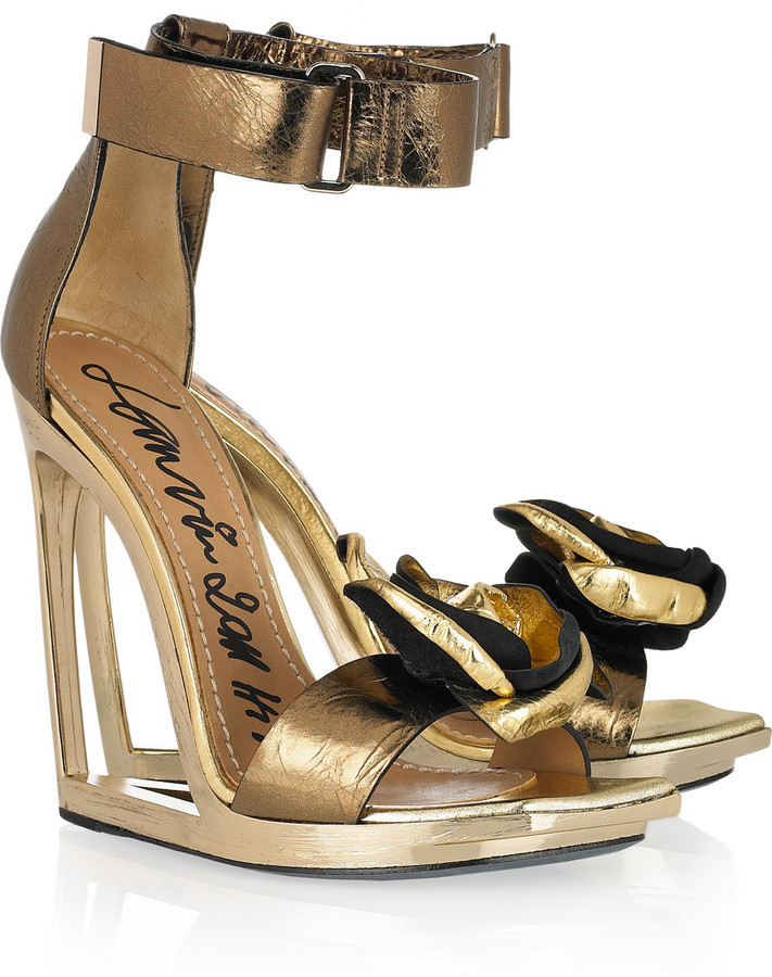Lanvin Frame-wedge metallic-leather sandals