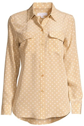 Equipment Signature Slim-Fit Polka Dot Silk Shirt