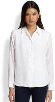 Brett Scalloped Silk Shirt
