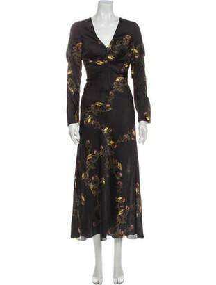 Lake Studio Floral Print Long Dress Black