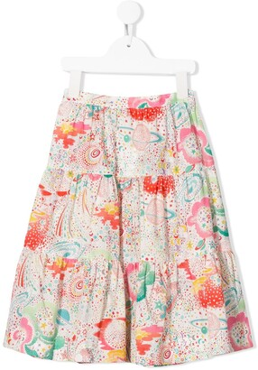 Bonpoint Planets Print Tiered Skirt