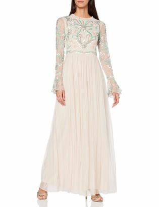 Amelia Rose Women's Aphrodite Embellished high Neck Flared Sleeved Maxi Dress Formal Night