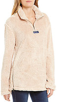 Lauren James Linden Faux-Sherpa Partial-Zip Pullover Sweater