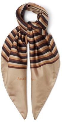 Acne Studios Striped Square-print Silk Scarf - Beige