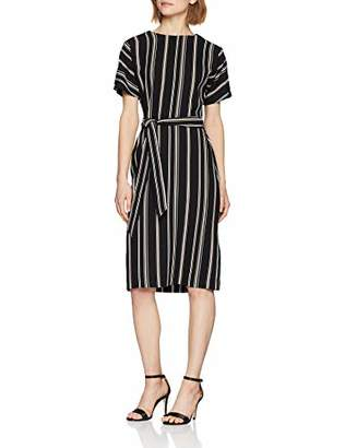 Warehouse Women's Stripe Button Detail Wiggle A-Line Striped Short Sleeve Dress,(Manufacturer Size:)