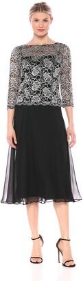 Emma Street Women's 1 Piece Beaded Sleeve top Over Long Full Chiffon Skirt