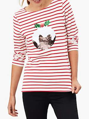 Joules Harbour Christmas Pudding Sequin Jersey Top, Red Stripe