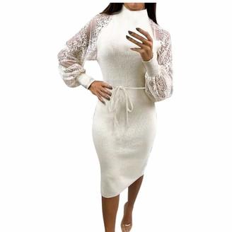 Taottao Decor TAOtTAO Fashion Women Lace Mesh Puff Sleeve Patchwork Frenulum Casual Work Elegant Dress White