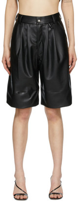 Markoo Black Faux-Leather The Pleats Shorts