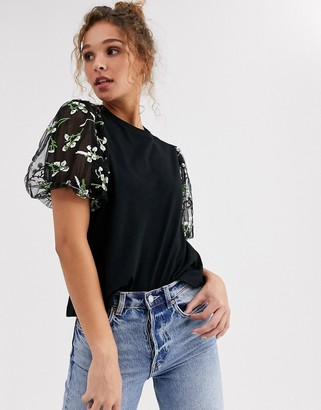 Asos Design DESIGN t-shirt with floral embroidered organza sleeve