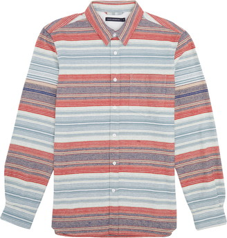 French Connection Regular Fit Horizontal Stripe Flannel Button-Up Shirt