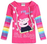 Tiful Peppa Pig Little Girls Spring Fall Long Sleeve Cartoon Cotton T-Shirts