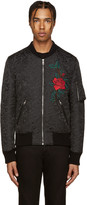 Dolce & Gabbana Black Flower Brocade Bomber Jacket