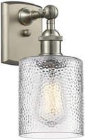 clear Innovations Lighting Cobbleskill 1-Light Sconce, Ripple Glass, Satin Brush Nickel