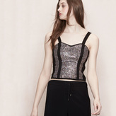 Maje Bustier-style sequinned top