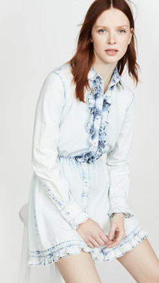 MSGM Denim Collared Shirt Dress
