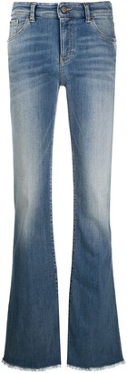 Emporio Armani Frayed-Hem Mid-Rise Flared Jeans
