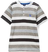 U.S. Polo Assn. Medium Gray & Black Stripe Henley Tee - Toddler & Boys