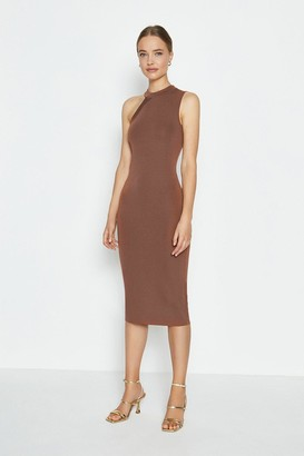 Coast Asymmetric Shoulder Knitted Midi Dress
