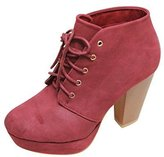 BELLA MARIE GOLDIE-11 Women's Fashion High Chunky Heel Platform Lace Up Booties, Color:, Size:8.5