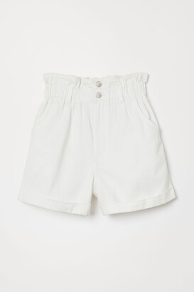 H&M Cotton Paper-bag Shorts - White