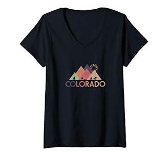 Womens Vintage Rocky Mountains Colorado National Park V-Neck T-Shirt