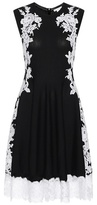 Oscar de la Renta Knitted merino wool dress with lace