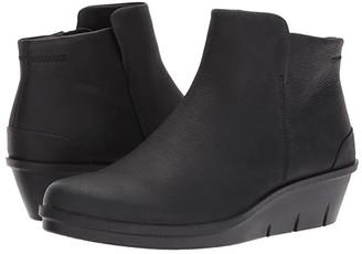 Ecco Skyler Wedge Bootie (Black Cow Nubuck) Women's Boots