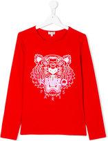 Kenzo tiger print longsleeved T-shirt - kids - Cotton/Spandex/Elastane - 14 yrs