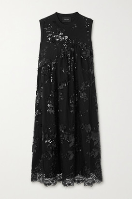 Simone Rocha Sequined Tulle And Cotton-jersey Midi Dress - Black