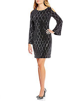 Jessica Howard Cold Shoulder Sequined Sheath Dress