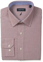 Nautica Men's Stripe Shirt with Spread Collar with Red Stripes