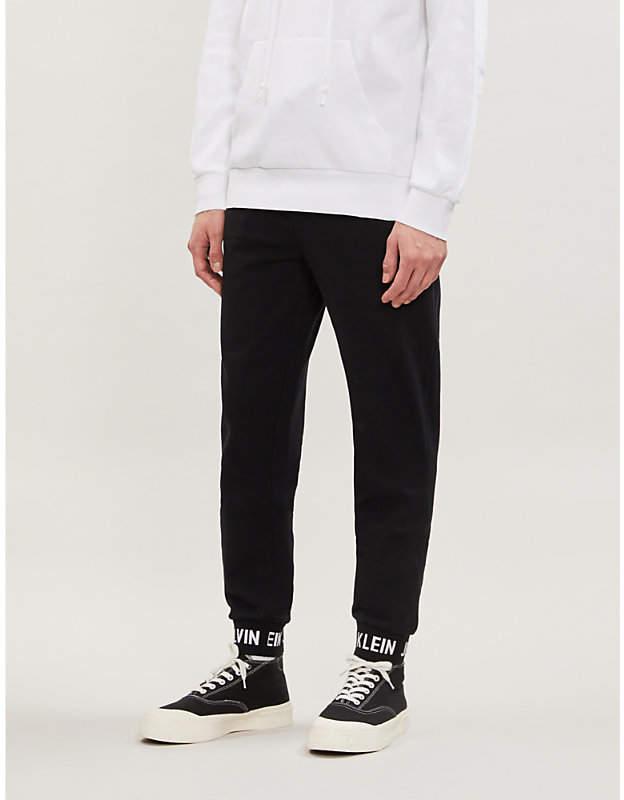 CK Calvin Klein Logo-cuff cotton jogging bottoms