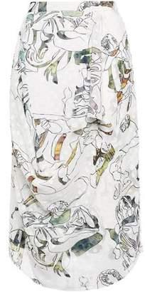 Chalayan Draped Printed Devore-woven Midi Skirt