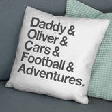 The Drifting Bear Co. Typographic 'Favourite Things' Personalised Cushion