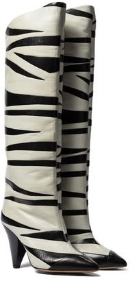 Isabel Marant Larzee zebra-applique leather knee-high boots